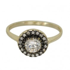 Round Ring with Faceted Stone and Gold Plating, Sterling Silver