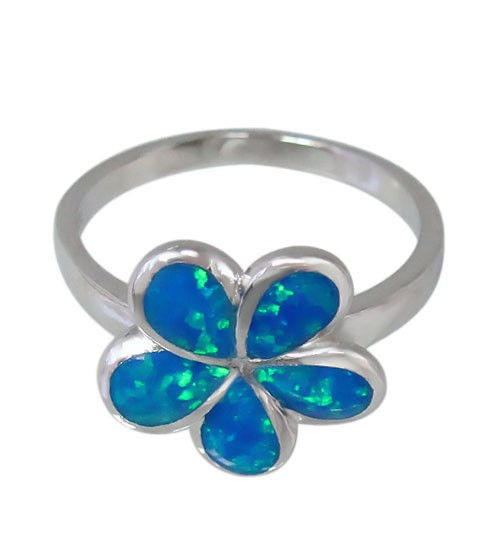 Blue Flower Ring, Sterling Silver